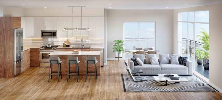 Premium stainless steel appliances coupled with modern finishes and fixtures in the kitchen inspire home chefs to new culinary adventures.