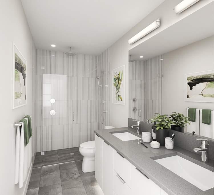Full Kohler plumbing package, tiled floors, and floor-to-ceiling shower tile.
