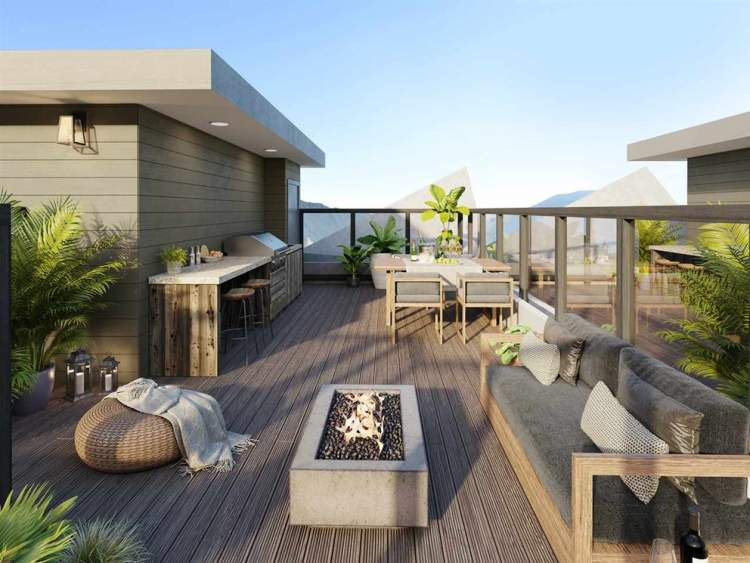 Each Lizzy Bay city home comes with a private roof deck to enjoy the spectacular mountain views.