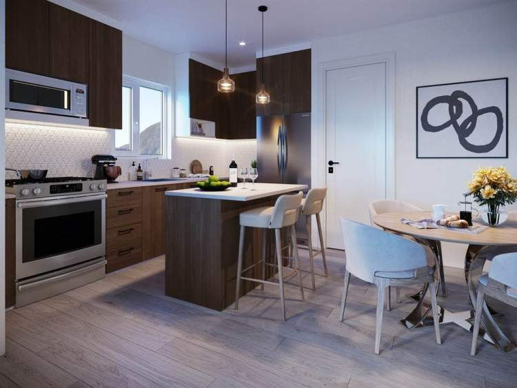 Lizzy Bay kitchens feature quartz countertops and a Samsung stainless steel appliance package.