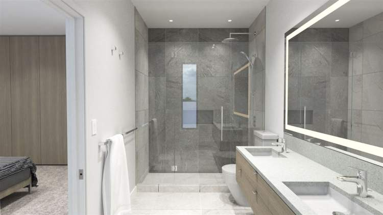 Second-floor shared and en suite bathrooms feature rectangular undermount sinks, anti-fog LED back-lit mirrors and Alt-Aqua fixtures.
