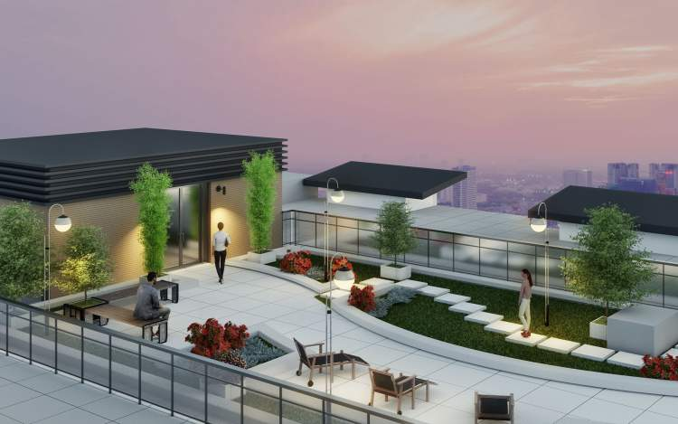Building amenities include a landscaped roof terrace with expansive city views.