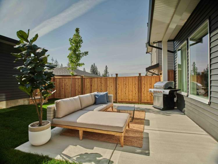 All Argyle homes have a fully-fenced back yard with a patio.