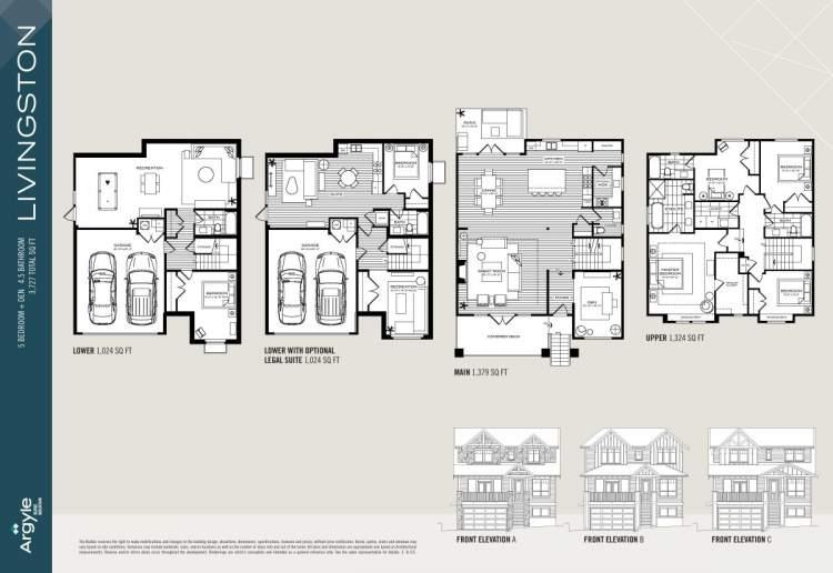 Livingston floorplan for Argyle Burke Mountain subdivision.
