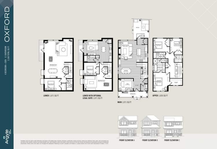 Oxford floorplan for Argyle Burke Mountain subdivision.