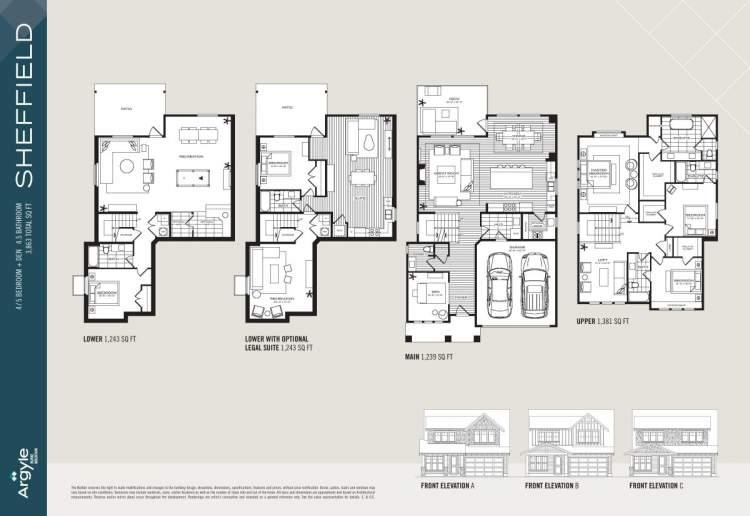 Sheffield floorplan for Argyle Burke Mountain subdivision.
