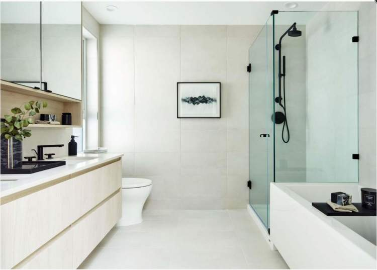 Light House bathrooms create a bold visual statement through contrast.