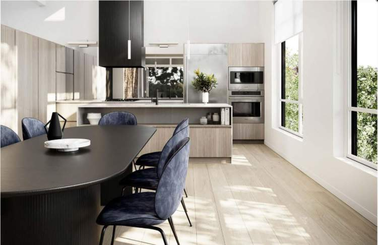 Elevated spaces for cooking and entertaining feature Monogram professional-grade appliances.