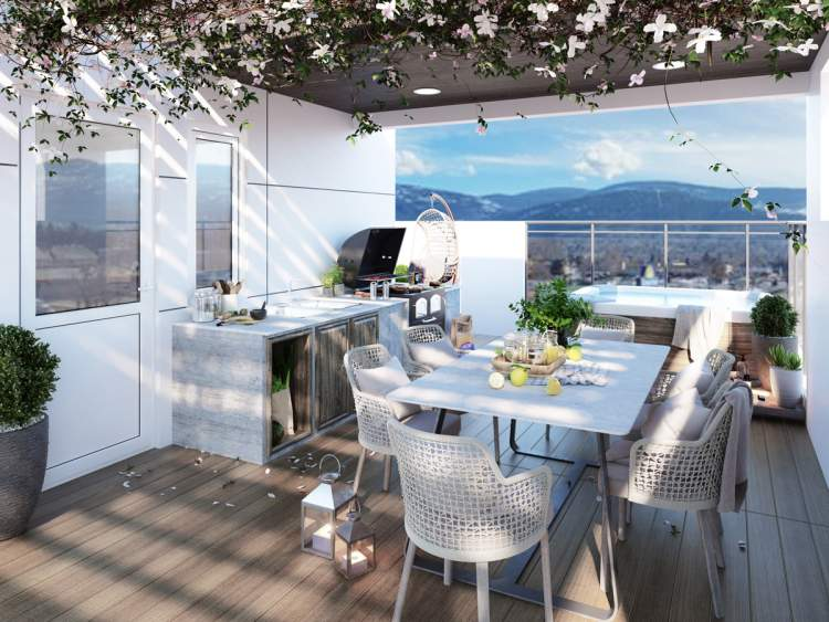 Each home has a spacious rooftop terrace that can accommodate a hot tub and outdoor kitchen.