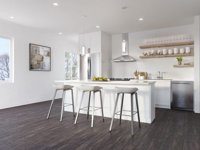 Upper units feature an oversized, spectacular 10-foot kitchen island.