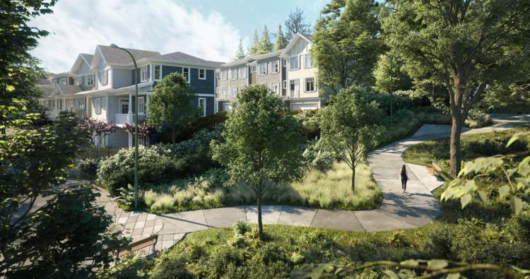 Artist rendering showing view of the Baycrest townhomes from the eastern property line.
