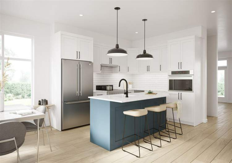 Kitchens feature stainless steel Samsung appliances, white Shaker cabinets, quartz countertops, and kitchen island.