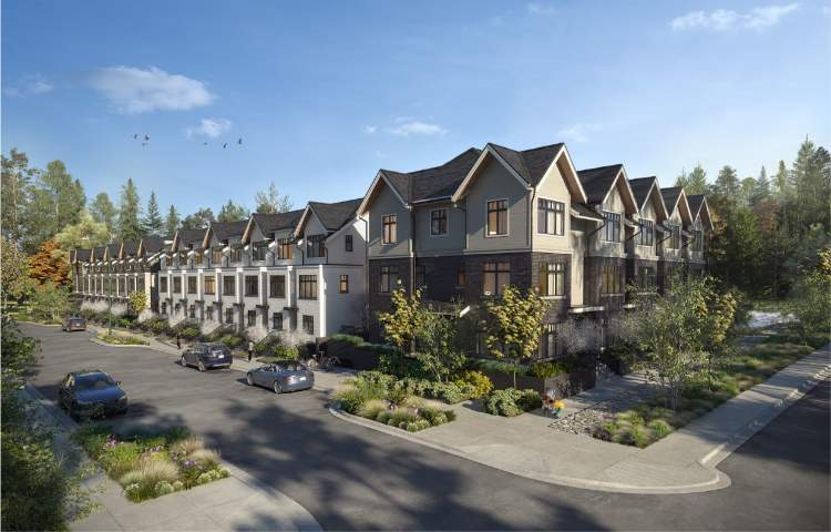 A collection of 23 move-in ready riverfront North Vancouver rowhomes in Lions Gate Village.
