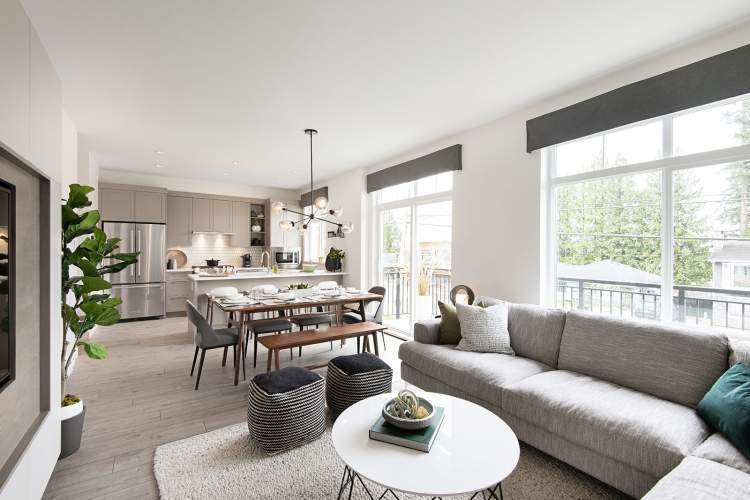 Two curated colour schemes capture the natural hues of Burke Mountain, while large windows flood your home with light.