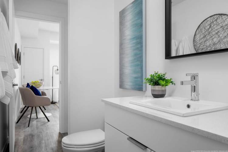 Sole Rutland bathrooms feature Euro-style vanity and cabinetry with practical fixtures.