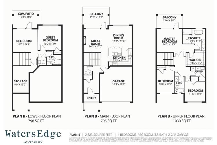 4 bedrooms, 3.5 bath, rec room | 2,623 sq ft
