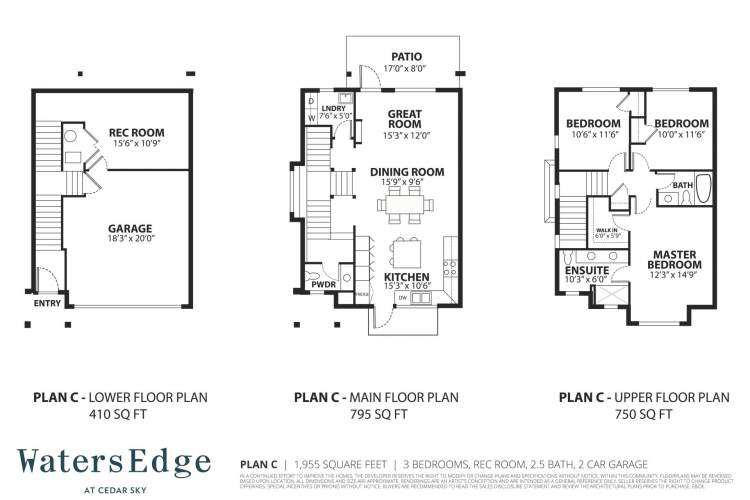 3 bedrooms, 2.5 bath, rec room | 1,955 sq ft