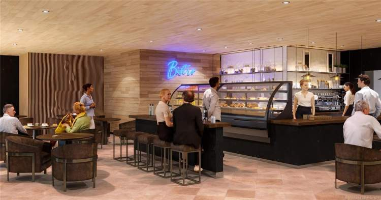 A hub of activity where people drop in for a cappuccino, a light deli-style meal, and make plans with other residents.