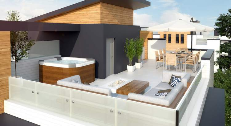 Your spacious rooftop patio is an ideal location for entertaining and everyday living.