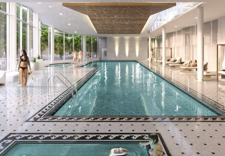 Amenities include a 25m Olympic-training size pool, hot tub, steam room, and sauna.