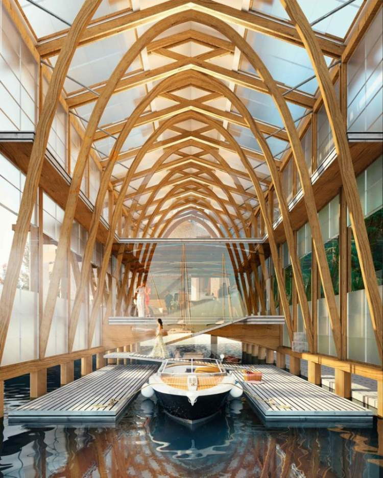 A post and beam wooden structure with transparent and translucent glass panels will glow like a lantern by night.