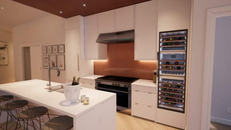 Kitchens feature top-of-the-line appliances, including Miele Professional Dual-Fuel ranges – a first in Canada.