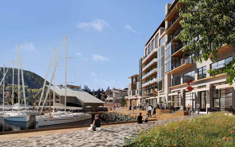 An enhanced public realm celebrates the Horseshoe Bay waterfront.