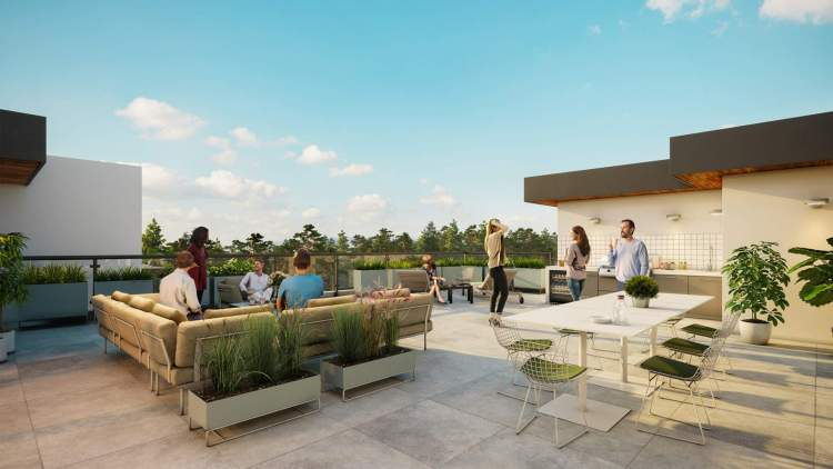 Outdoor rooftop terrace with barbeque kitchen, lounge, and dining seating.