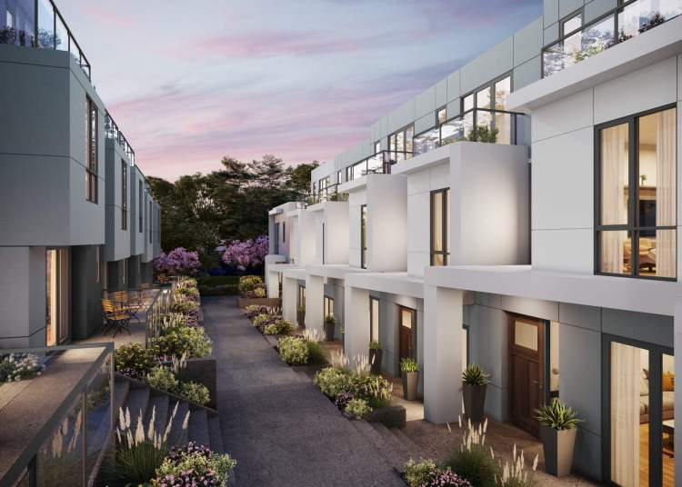Modern and sophisticated exteriors, private balconies, and beautifully-landscaped entryway patios.