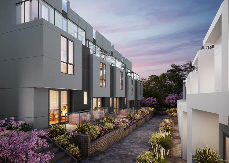 Inviting landscaped entrances, private balconies, and an open common space courtyard.