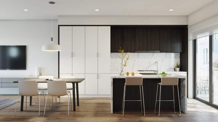 Open concept layouts with preimium European appliances are the perfect spaces for entertaining.