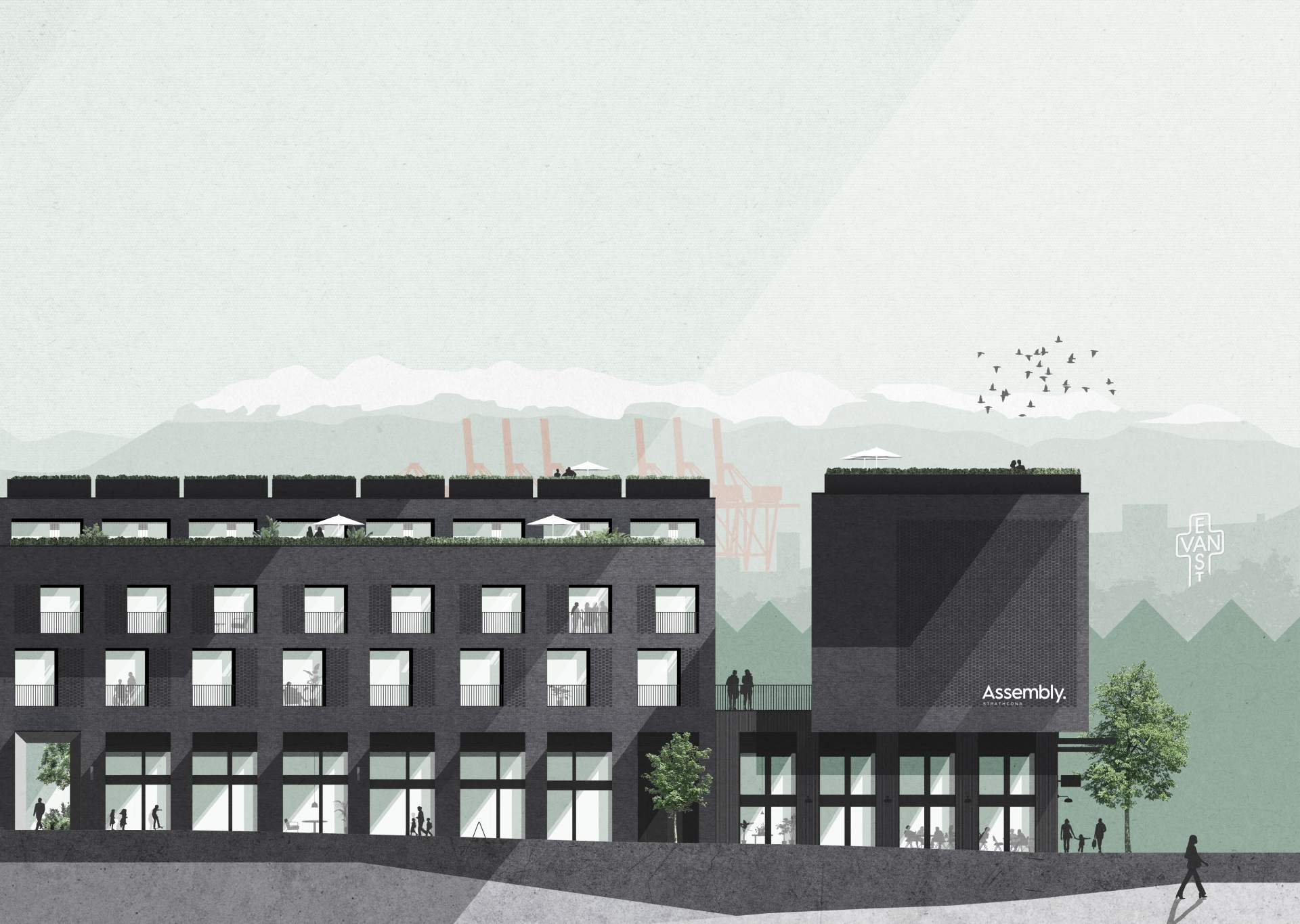 Rendering of Assembly 5-storey building street view