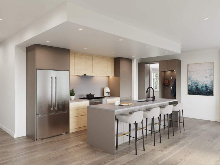 The kitchen is centrally located and ideally positioned for easy entertaining.