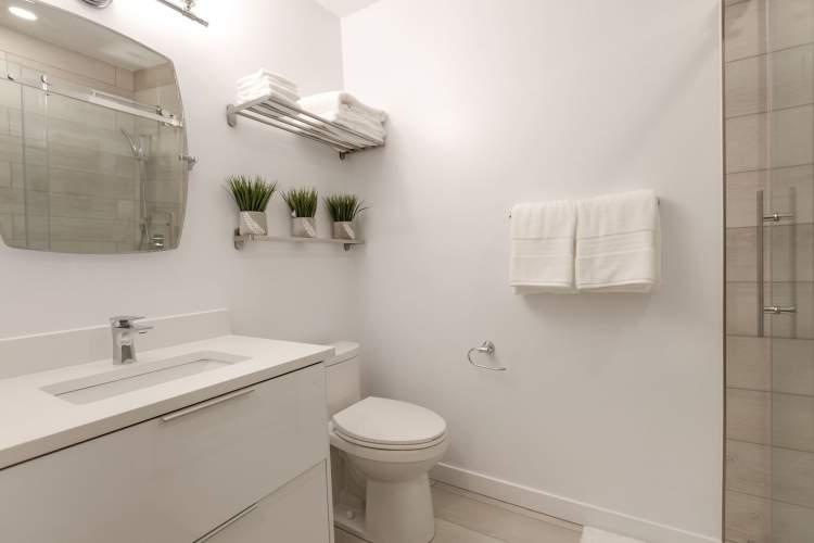 Bathrooms feature waterproof European vinyl finshing.