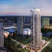 A 44-storey residential tower by Aoyuan located in Surrey's city centre.