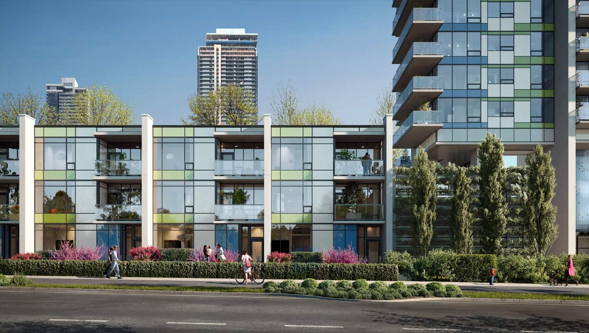 3-storey, Ground-oriented Work/live Townhomes Facing Alaska Street.