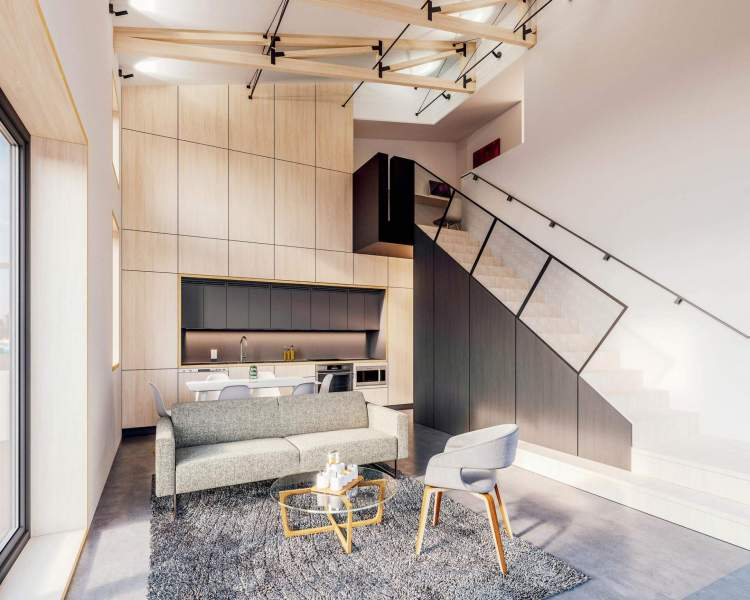 Loft-style interiors have soaring ceilings, exposed trusses, and an efficient layout.