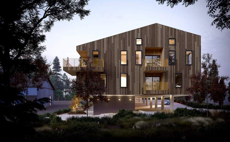 The suspended design of the residential levels makes the building seem to hover.