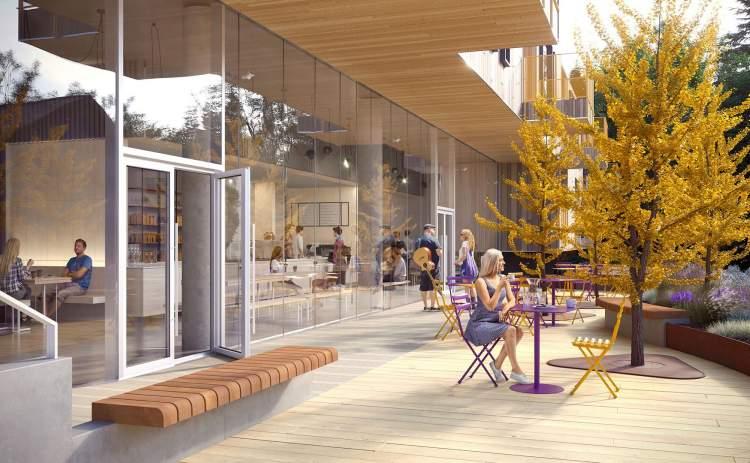 Driftwood features a street-level art gallery/coffee shop as a social gathering spot.