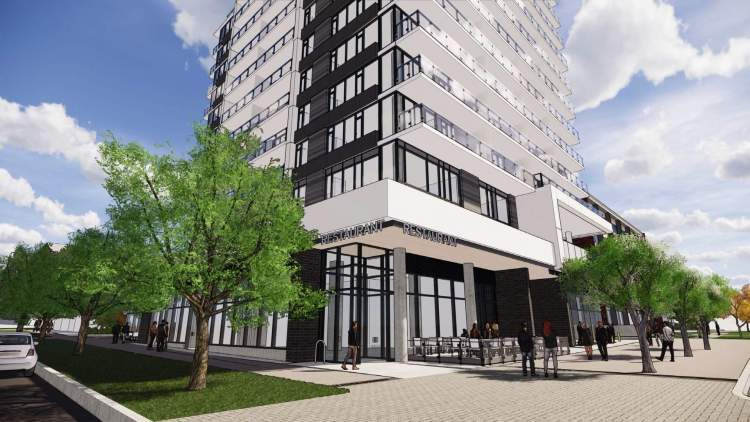 12-storey condo highrise with retail at grade, including a restaurant with outdoor space.