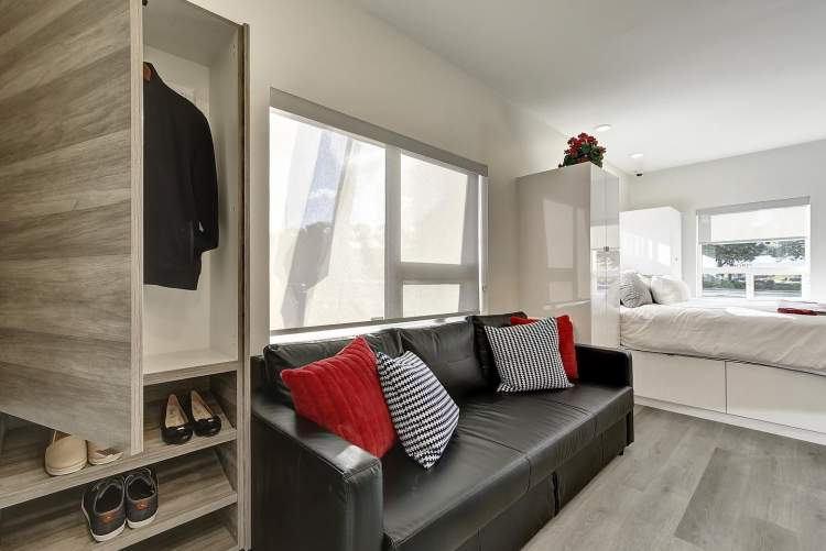 Fully-furnished suites offer 313 sq ft of efficient living space.