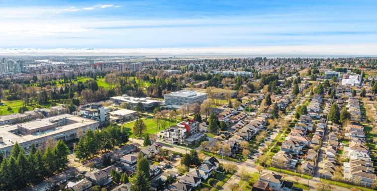 Aerial view looking southwest showing Langara College, Langar Golf Course, and Langara Family YMCA.