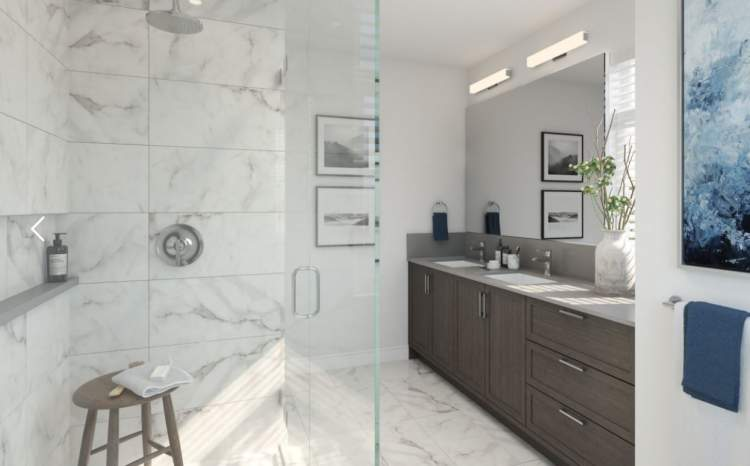 All homes feature bathrooms on each floor, including master bedrooms with an en suite and walk-in closet.
