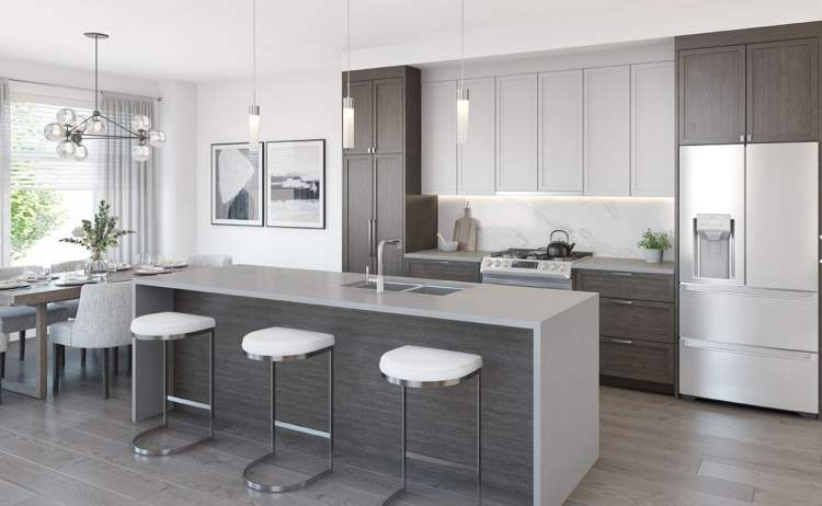 Cooking is a pleasure with premium stainless steel appliances, a large kitchen island with built-in microwave & dishwasher, and plenty of storage space.