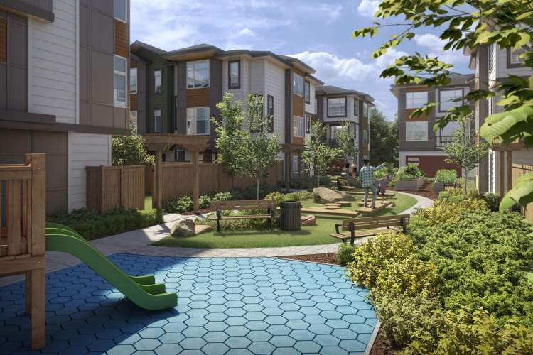 Two landscaped outdoor amenities feature a children's play space, seating area, and open green space.