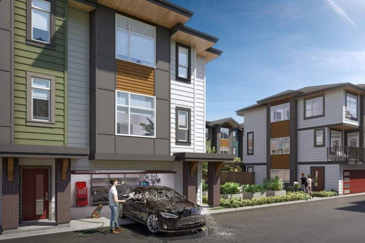 Each home features an attached double-car garage with an EV charging station and room for storage.