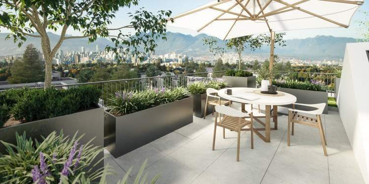 Rooftop patios offer respite and tranquility from a busy life.