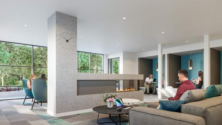 Resident amenities include a fireside lounge with co-share work spaces.