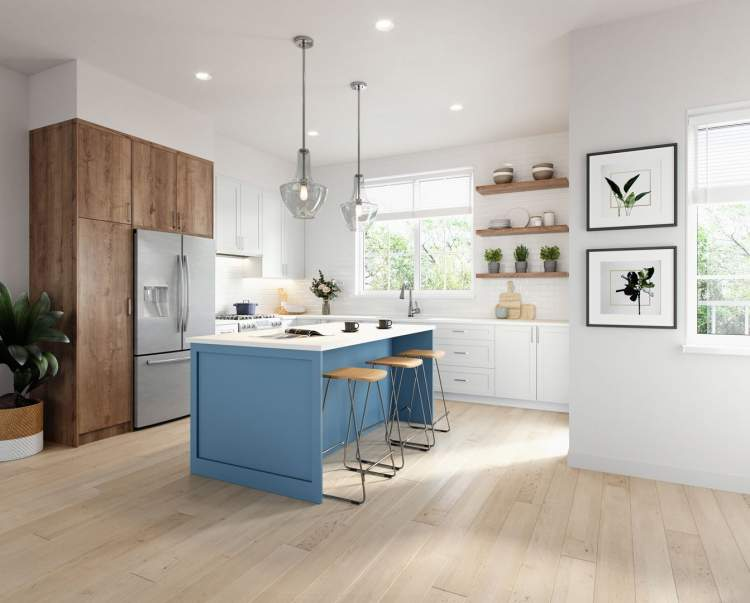Easily entertain with oversized gourmet kitchens that feature Samsung stainless steel appliances.