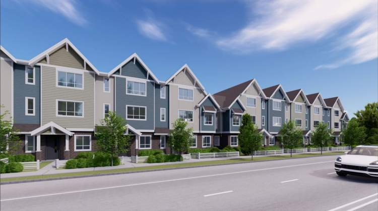 Street view along 8A Avenue of South Grove townhomes by Maple Leaf Homes.